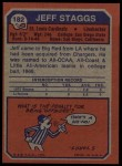 1973 Topps #182  Jeff Staggs  Back Thumbnail