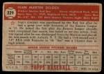1952 Topps #329  Ivan Delock  Back Thumbnail