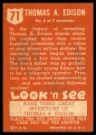 1952 Topps Look 'N See #71  Thomas Edison  Back Thumbnail