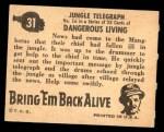 1950 Topps Bring Em Back Alive #31   Jungle Telegraph Back Thumbnail