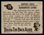 1950 Topps Bring Em Back Alive #15   Hunter's Boast Back Thumbnail