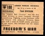1950 Topps Freedoms War #180   76th Division  Back Thumbnail