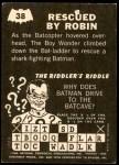 1966 Topps Batman -  Riddler Back #38   Rescued by Robin Back Thumbnail