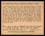 1941 Gum Inc. War Gum #81   Plane Drops Flag On Unknown Soldier's Tomb Back Thumbnail