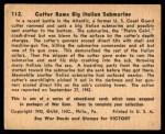 1941 Gum Inc. War Gum #112   Cutter Rams Big Italian Submarine Back Thumbnail