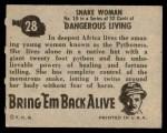 1950 Topps Bring Em Back Alive #28   Snake Woman Back Thumbnail