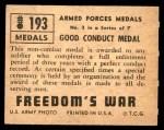 1950 Topps Freedoms War #193   Good Conduct Medal  Back Thumbnail