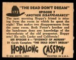 1950 Topps Hopalong Cassidy #172   Another disappearance Back Thumbnail