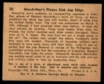 1941 Gum Inc. War Gum #58   Macarthur's Planes Sink Japanese Ships Back Thumbnail