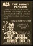 1966 Topps Batman -  Riddler Back #33   The Pudgy Penguin Back Thumbnail