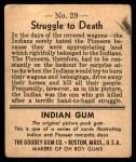 1947 Goudey Indian Gum #29   Struggle To Death Back Thumbnail