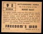 1950 Topps Freedoms War #8   Rocket Blast   Back Thumbnail