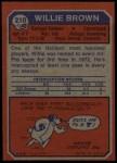 1973 Topps #210  Willie Brown  Back Thumbnail