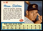 1962 Post #92  Norm Siebern   Front Thumbnail