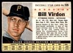 1961 Post #135  Bill Virdon   Front Thumbnail