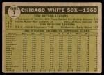 1961 Topps #7 WHI  White Sox Team Back Thumbnail