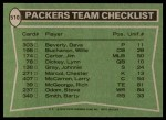 1978 Topps #510   Packers Leaders Checklist Back Thumbnail