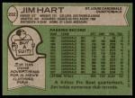 1978 Topps #232  Jim Hart  Back Thumbnail