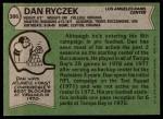 1978 Topps #386  Dan Ryczek  Back Thumbnail