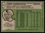 1978 Topps #495  Chris Hanburger  Back Thumbnail