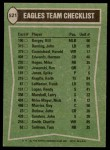 1978 Topps #521   Eagles Leaders Checklist Back Thumbnail
