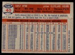 1957 Topps #40  Early Wynn  Back Thumbnail