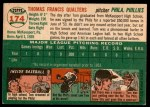 1954 Topps #174  Tom Qualters  Back Thumbnail