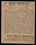 1939 Play Ball #51  Mel Ott  Back Thumbnail
