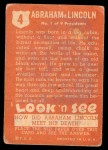 1952 Topps Look 'N See #4  Abraham Lincoln  Back Thumbnail