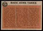 1962 Topps #136 GRN  -  Babe Ruth Babe Joins Yanks Back Thumbnail