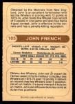 1976 O-Pee-Chee WHA #105  John French  Back Thumbnail