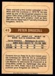 1976 O-Pee-Chee WHA #45  Peter Driscoll  Back Thumbnail