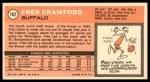 1970 Topps #162  Fred Crawford   Back Thumbnail