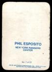 1976 Topps Glossy #7  Phil Esposito  Back Thumbnail