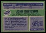 1976 Topps #204  John Davidson  Back Thumbnail