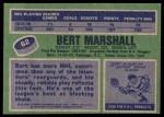 1976 Topps #62  Bert Marshall  Back Thumbnail