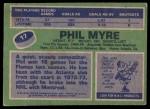 1976 Topps #17  Phil Myre  Back Thumbnail