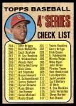 1968 Topps #278 LFT  -  Orlando Cepeda Checklist 4 Front Thumbnail