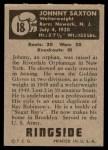1951 Topps Ringside #18  Johnny Saxton  Back Thumbnail