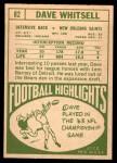 1968 Topps #82  Dave Whitsell  Back Thumbnail