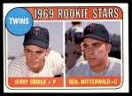 1969 Topps #491 YN  -  George Mitterwald / Jerry Crider Twins Rookies Front Thumbnail