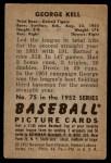 1952 Bowman #75  George Kell  Back Thumbnail