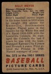 1951 Bowman #272  Billy Meyer  Back Thumbnail