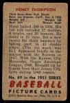 1951 Bowman #89  Hank Thompson  Back Thumbnail