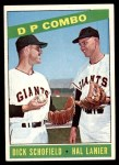 1966 Topps #156   -  Hal Lanier / Dick Schofield Double Play Combo Front Thumbnail