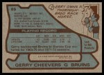 1979 Topps #85  Gerry Cheevers  Back Thumbnail