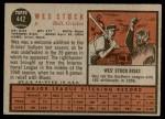 1962 Topps #442  Wes Stock  Back Thumbnail