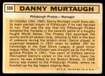 1963 Topps #559  Danny Murtaugh  Back Thumbnail