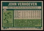 1977 Topps #91  John Verhoeven  Back Thumbnail