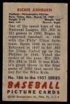 1951 Bowman #186  Richie Ashburn  Back Thumbnail